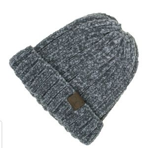 8054ca457 C.C. Beanie Chunky Ribbed Chenille Grey Boutique